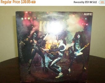Save 30% Today Vintage LP Record KISS Alive Two Record Set Excellent Condition with Original Book 7389