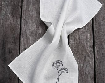 Linen Tea towel with dill embroidery
