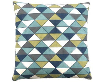 1 pillowcase DIMENSION triangles graphically blue olive nature anthracite 50 x 50 cm