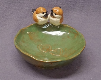 Trinket Bowl Rustic Style with Two Birds, Love Birds - Handmade Ceramic Bowl, Decorative Bowl, Wedding Gift, Romantic, Valentine's day