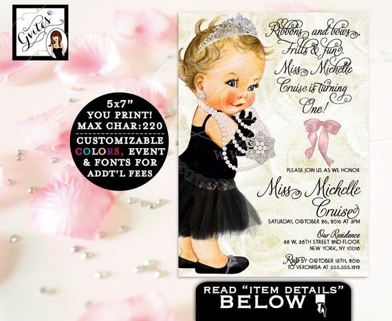 FIRST BIRTHDAY Invitation, ribbons and bows frills and fun, tutus tiara, princess vintage baby 1st invites, ivory and pink silver. 5x7