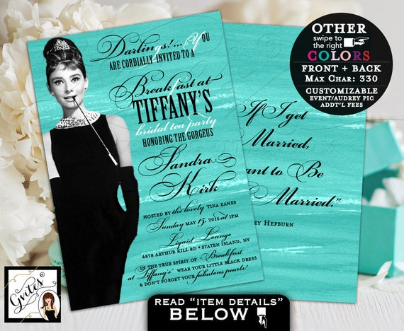 Breakfast at Tiffany's bridal shower invitation, bridal tea party, Audrey Hepburn quote invitations, turquoise textured, double sided 5x7.