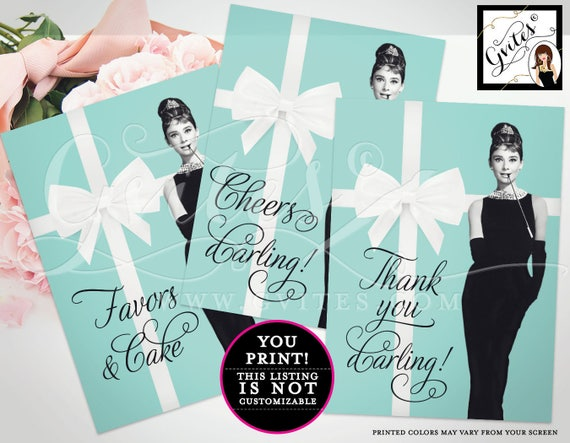 Breakfast at Tiffany's party signs, bridal shower decorations, Audrey Hepburn themed party supplies favors cake, cheers, thank you, Set of 3