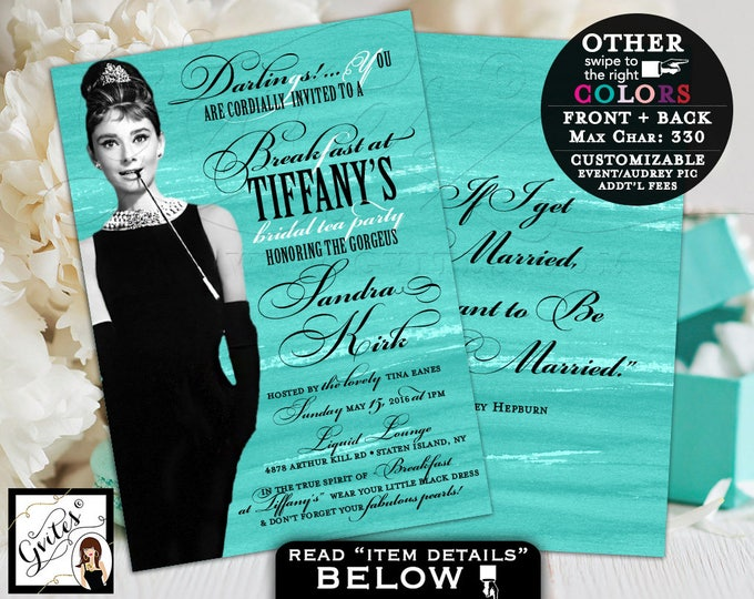 Audrey Hepburn bridal shower invitation, bridal tea party, invitations, turquoise textured, double sided 5x7.