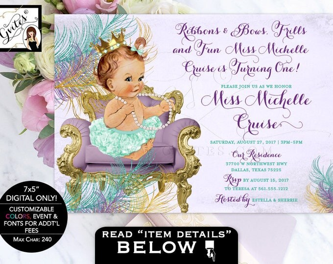 Purple and mint baby invitation, ribbons and bows frills and fun, first birthday invitations, Customizable text, digital file only! 7x5""