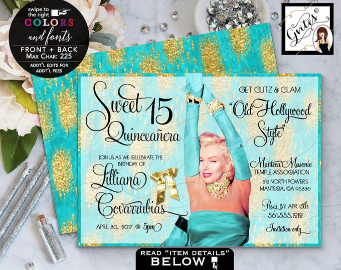 Quinceanera invitation, mis quince birthday glitz & glam old hollywood style, teal blue and gold, Marilyn Monroe sweet 16. 7x5 Digital File