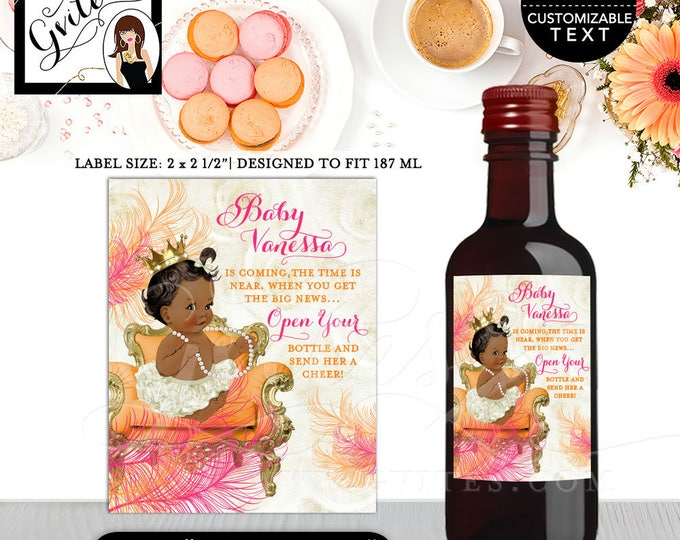 "Baby Shower Wine Labels, MINI WINE label Pink and orange baby shower princess, orange ivory pink and gold {2x2.5"" 12 Per/Sheet}"