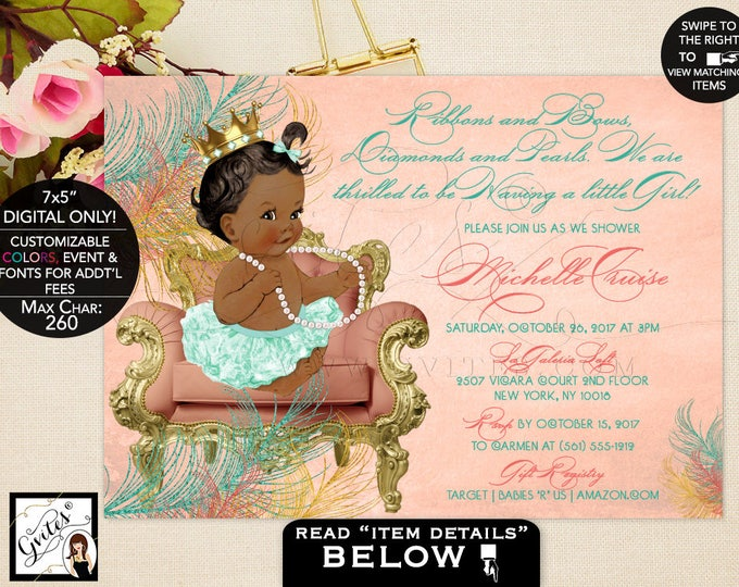 African American Baby Girl Baby shower invitation, ethnic baby shower, vintage coral mint green, ribbons bows, diamonds pearls, princess.