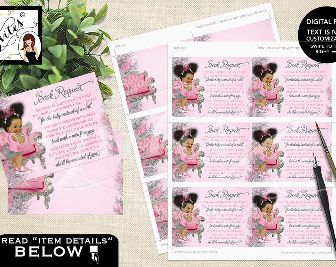 """One Small Request Pink and Silver Book For Baby, Princess African American Baby Vintage Girl, Afro Puffs Tiara {DOUBLE SIDED} 4x3"""" 6/Sheet."""
