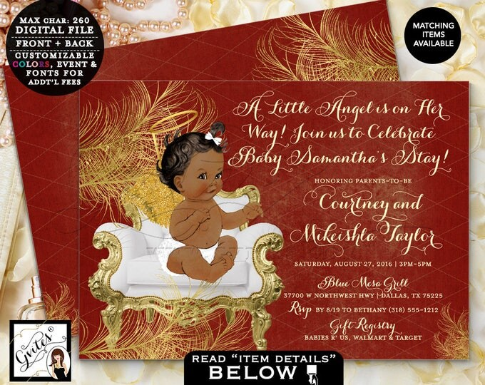 """Angel Baby Shower, Red & Gold Invitation, African American Baby Girl Vintage, white red and gold printable, double sided 7x5"""" DIGITAL FILE"""