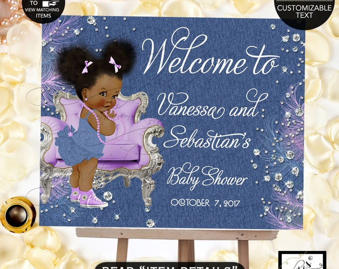 Denim & Diamonds Welcome baby shower sign, baby banner, baby shower sign, baby girl, banner. Lavender silver blue.
