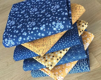Matilda in Sapphire Blue and Mustard Yellow Quilting Fat Quarter Bundle C by Indigo Fabrics 100% cotton