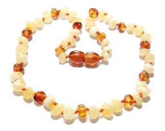 Genuine Baltic amber baby teething necklace, amber beads, amber necklace for baby, baby necklace, amber teething necklace  AN1