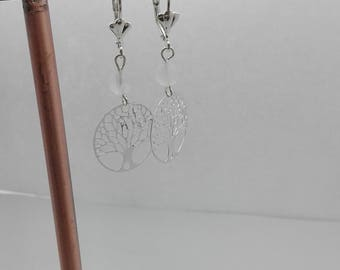 Fantasy tree of life and rose quartz gemstone earrings, Crystal healing, gift for her