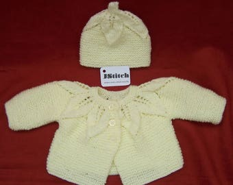 Knitted Baby Cardigan, Hand Knitted Baby Cardigan, Baby Sweater, Hand Knitted Cardigan, Hand knitted Baby Clothes, Hand Knitted Hat, Knitted