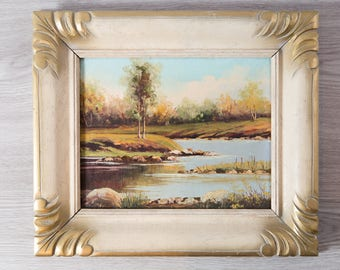 Antique Framed Painting on Board / Rustic Country Scene with River, Rocks, Sky and Trees  / Signed Artwork