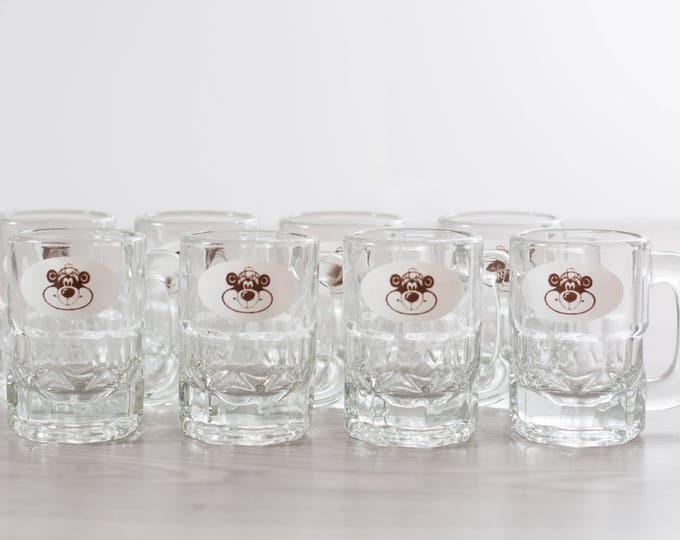 Vintage A&W Mugs / Set of 8 Child Sized Mini Glass AW Mugs