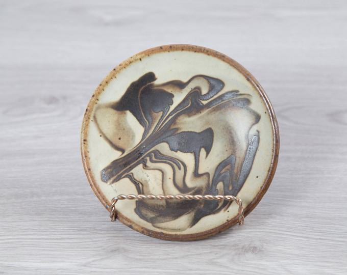 Vintage Marble Dish / Black Swirl Decorative Ceramic Handmade Plate / Rustic Brown Scandinavian Finnish Design Plate