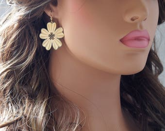 Gold Plated Laser Cut 5 Leaf Clover Earrings, Gold Earrings, Birthday, Gifts, Delicate Earrings  (37MM)