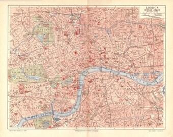 1904 Antique Map London Map Vintage London Map Antique London Map Antique England Map, Map of London