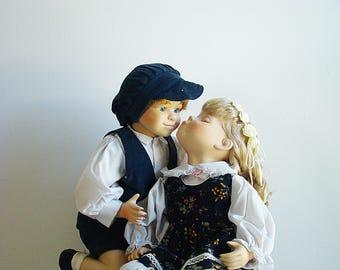Vintage Kissing Boy And Girl Porcelain Doll Set 1st Kiss-Pair of Dolls-Boy Doll and Girl Doll Porcelain & Cloth Body