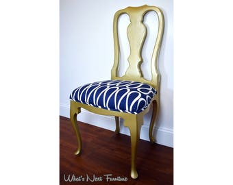 Gold Blue White Chair Side Occasional Vintage Modern Queen Anne Curvy