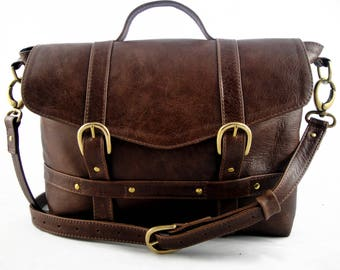 Handmade Rustic Brown Leather Midi Satchel - Can be Personalized