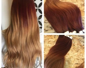 Sale 5 star ombre balayage cuticle remy human hair sew in sale 5 star ombre balayage cuticle remy human auburn ombre tape in seamless weft pmusecretfo Choice Image