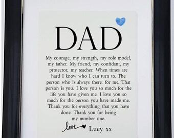 Personalised Dad Framed Poem