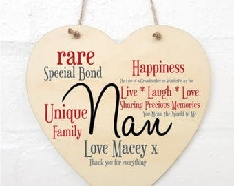 Personalised Nan Hanging Heart Sign Plaque.