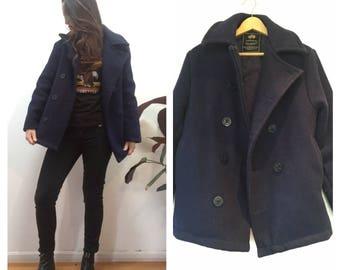Vintage //  Nautical Naval Uniform Wool Jacket Coat in Navy Blue //  Winter Warm Pea coat  // Sz M //
