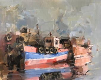 Tugs, Original oil painting, painting on canvas, handmade artwork, one of a kind