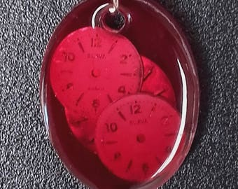 Pendant including brand vintage watch dials Silvia