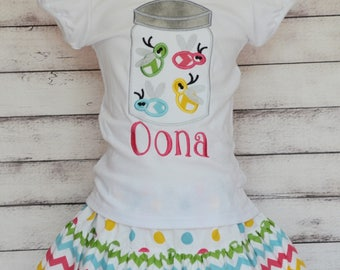 Personalized Lightning Bug Firefly Applique Shirt or Onesie Boy or Girl Skirt Sold Separately