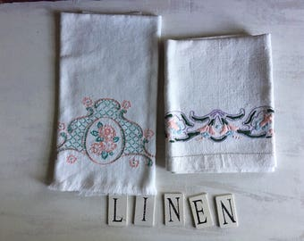 2 Vintage White Embroidered Guest Hand Towels