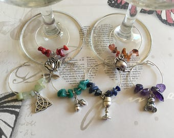 Rainbow wine glass charms, Gemstone wine glass charms, Wine marker, Party favours, Wine gift, Wine glass tags, Set of 6, Housewarming gift