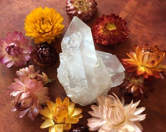 Raw quartz crystal point chunk cluster gemstone healing reiki prayer meditation