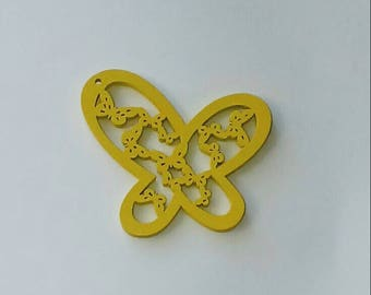 Butterfly Pendant 1 X yellow wooden 47X43mm