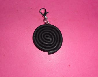 "1 ""roll of licorice"" Charms polymer clay 20mm"