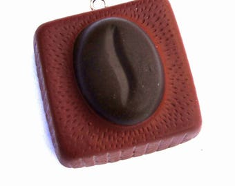 X 1 piece of chocolate and grain of coffee fimo