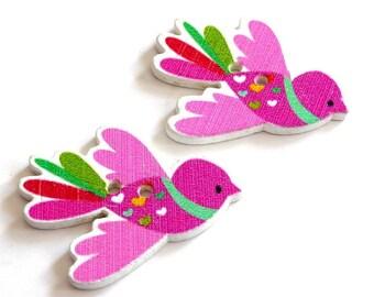 Pink X 4 buttons wood bird wing 35X27mm