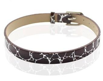 Faux leather black Crackle type 22cm bracelet