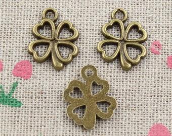 4 leaf clover 2 X antique bronze 32mm