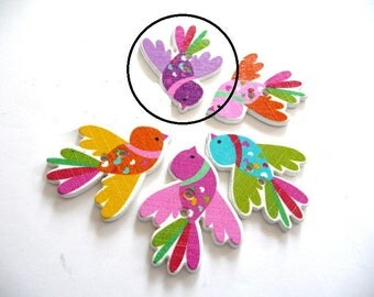 X 2 wood bird wing 35X27mm purple buttons