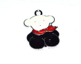 Teddy bear black and Red enamel 1 X 23mm