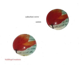 X 2 in poppy red 12mm glass Cabochons