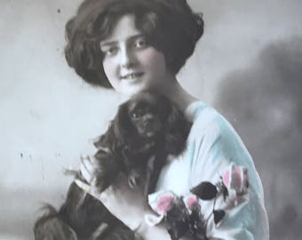 Antique 1914 Postcard, lovely young lady holding her cute dog , Birthday Greetings, Rotary Photo, Hand Tinted