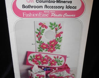 Needlepoint Plastic Canvas Pattern Booklet Columbia Minerva Bathroom Accessory Ideas Book 666 Pink Pansy Blue Iris Vintage 1981