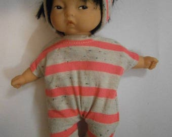 Neon pink striped romper and a headband for baby 20cm or mini Corolla