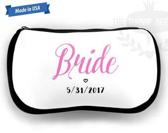 "Bridal Make Up Bag - 9.5"" x 6"" Black Neoprene Fabric MB0008"